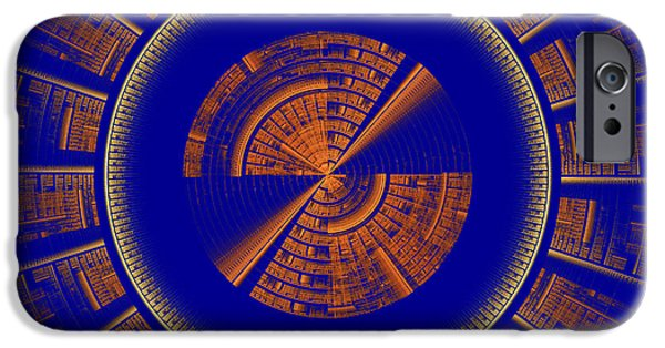Disc iPhone Cases - Futuristic Tech Disc Blue And Orange Fractal Flame iPhone Case by Keith Webber Jr