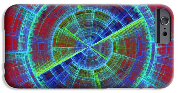 Disc iPhone Cases - Futuristic Tech Disc Red And Blue Fractal Flame iPhone Case by Keith Webber Jr
