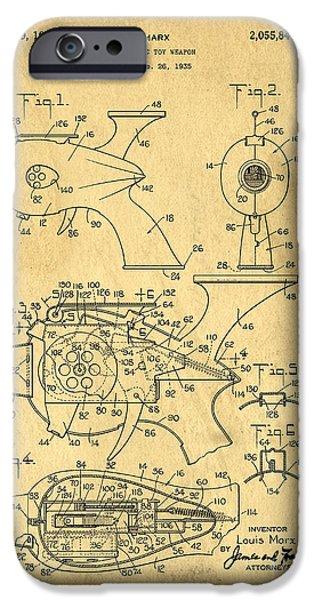 Futuristic Toy Gun Weapon Patent iPhone Case by Edward Fielding