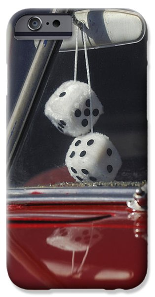Rear View iPhone Cases - Fuzzy Dice 2 iPhone Case by Jill Reger