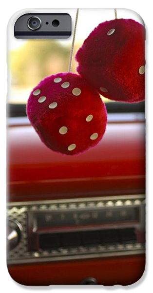 Fifties iPhone Cases - Fuzzy Dice iPhone Case by Jill Reger