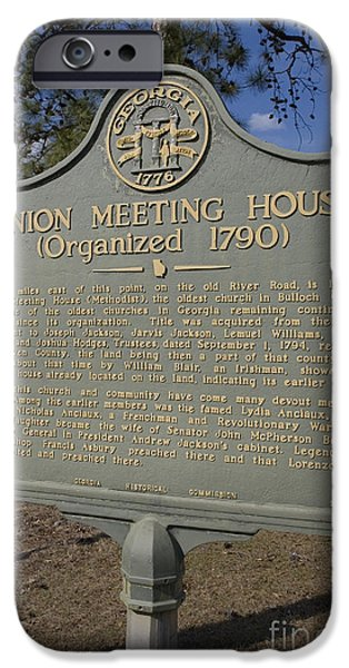 Historic Site iPhone Cases - GA-016-1 Union Meeting House Organized 1790 iPhone Case by Jason O Watson
