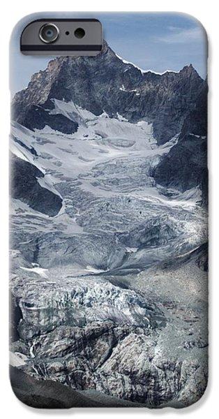Swiss Horn iPhone Cases - Gabelhorngletscher iPhone Case by David Broome