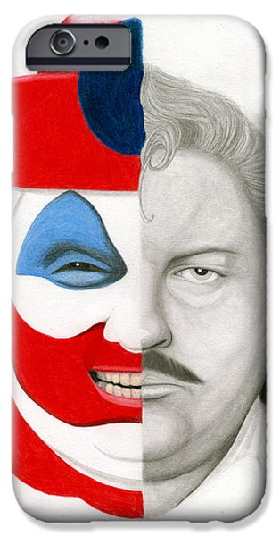 John Wayne Drawings iPhone Cases - Gacy the Clown iPhone Case by Kris Milo