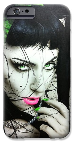 Hand Paint Brushed iPhone Cases - GaGa IV iPhone Case by Christian Chapman Art