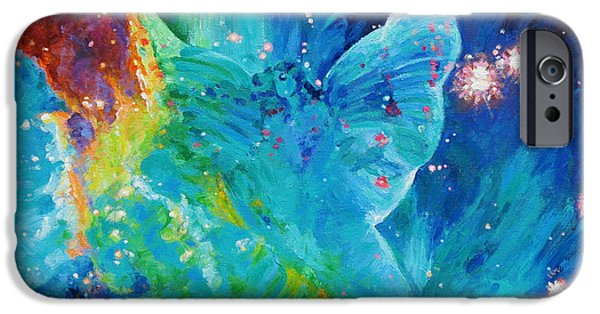 Galactic Paintings iPhone Cases - Galactic Angel iPhone Case by Julie Turner