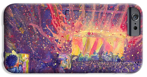 Galactic Paintings iPhone Cases - Galactic at ARISE Music Festival iPhone Case by David Sockrider