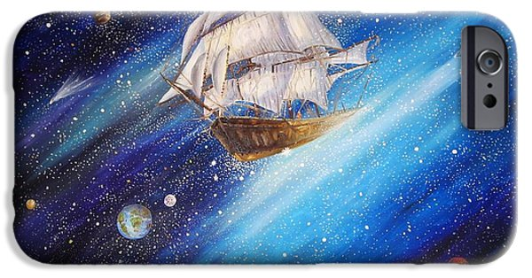 Galactic Paintings iPhone Cases - Galactic Traveler iPhone Case by Dariusz Orszulik