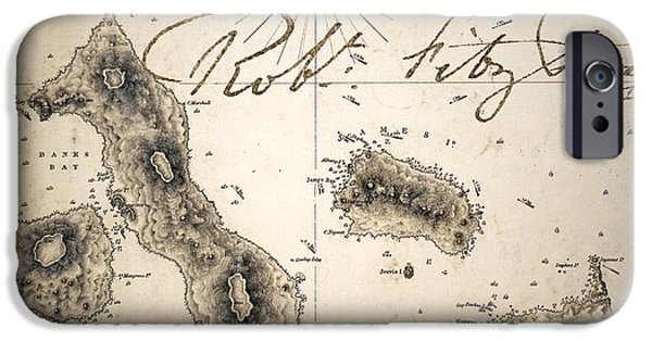 Beagles iPhone Cases - Galapagos Admiralty Map By Fitzroy Beagle iPhone Case by Paul D Stewart