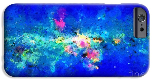 Outer Space Paintings iPhone Cases - Galaxy over blue space iPhone Case by Magomed Magomedagaev