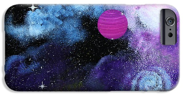 Outer Space Glass Art iPhone Cases - Galaxy iPhone Case by Wolfgang Finger
