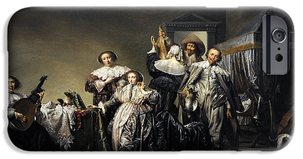 Interior Scene iPhone Cases - Gallant Company, 1633, By Pieter Codde 1599-1678 iPhone Case by Bridgeman Images