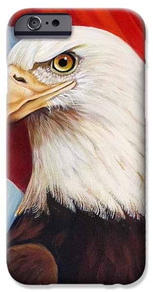 4th July Paintings iPhone Cases - Gallantly Streaming-4 iPhone Case by Jean R Brown - J Brown