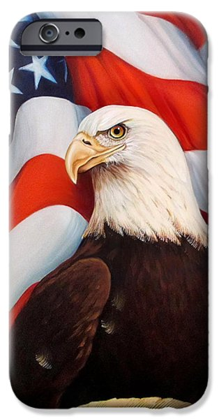 Independence Day Mixed Media iPhone Cases - Gallantly Streaming iPhone Case by Jean R Brown - J Brown