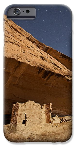 Moonscape iPhone Cases - Gallo Cliff Dwelling Under the Bright Moon iPhone Case by Melany Sarafis