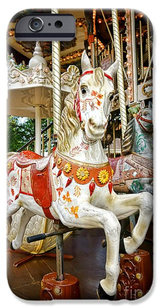 Carousel iPhone Cases - Galloper iPhone Case by Olivier Le Queinec