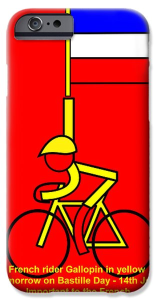 Asbjorn Lonvig Digital iPhone Cases - Gallopin in yellow tomorrow on Bastille Day iPhone Case by Asbjorn Lonvig