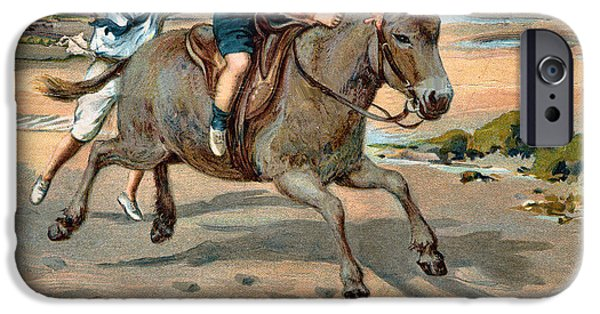 Little Girl iPhone Cases - Galloping Donkey At The Beach iPhone Case by Unknown