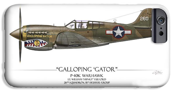 Profile iPhone Cases - Galloping Gator P-40K Warhawk iPhone Case by Craig Tinder