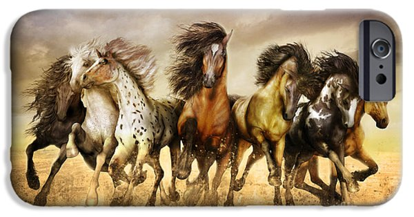 Horse Digital Art iPhone Cases - Galloping horses Full Color iPhone Case by Shanina Conway
