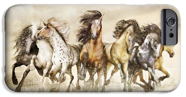 Horse Digital Art iPhone Cases - Galloping Horses Magnificent Seven iPhone Case by Shanina Conway