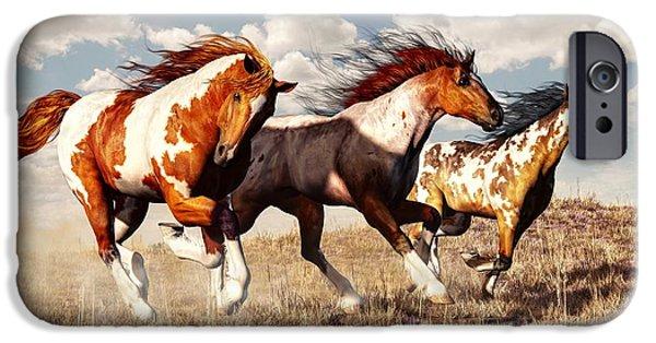 Horse iPhone Cases - Galloping Mustangs iPhone Case by Daniel Eskridge