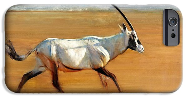 On Paper Paintings iPhone Cases - Galloping Orynx iPhone Case by Mark Adlington