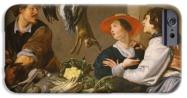 Merchants iPhone Cases - Game And Vegetable Sellers Oil On Canvas iPhone Case by Theodor Rombouts
