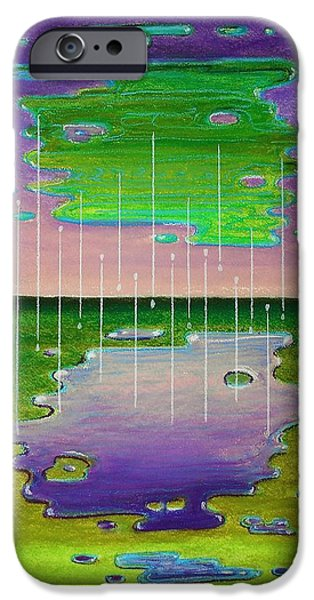 Raining Pastels iPhone Cases - Game of Drops iPhone Case by R Neville Johnston