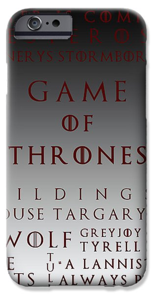 Hierarchy iPhone Cases - Game Of Thrones 6 iPhone Case by Nomad Art And  Design