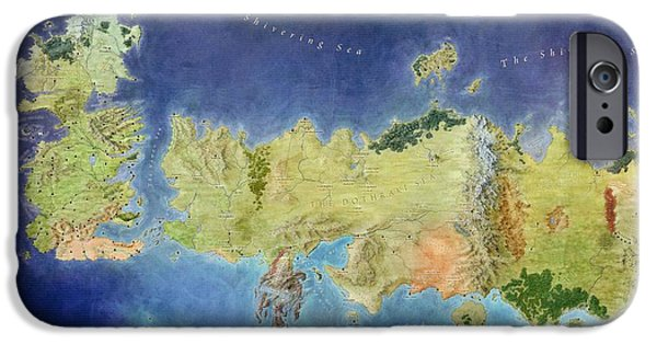 Games iPhone Cases - Game of Thrones World Map iPhone Case by Gianfranco Weiss
