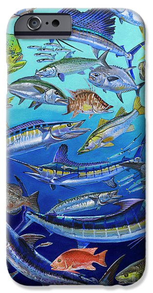 Vikings Paintings iPhone Cases - Gamefish Collage In0031 iPhone Case by Carey Chen