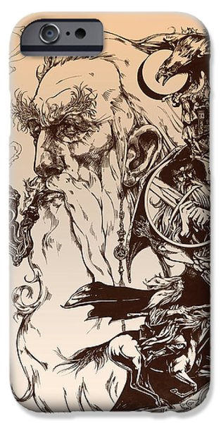 Lines Drawings iPhone Cases - gandalf- Tolkien appreciation iPhone Case by Derrick Higgins