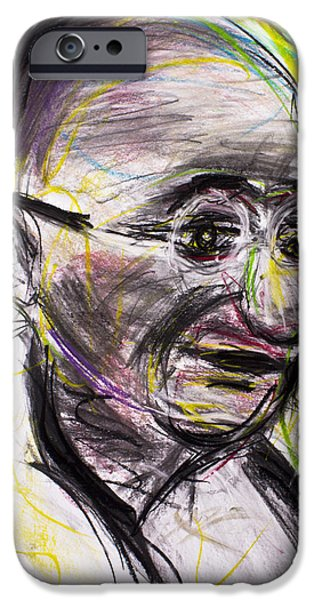War Pastels iPhone Cases - Gandhi in color iPhone Case by Don Lee