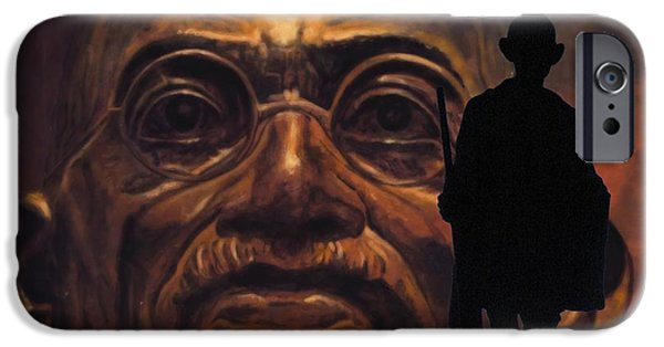 Statue Portrait Mixed Media iPhone Cases - Gandhi - the walk iPhone Case by Richard Tito