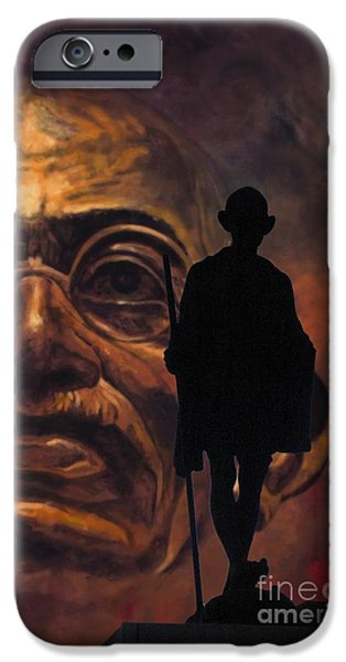 Statue Portrait iPhone Cases - Gandhi - the walk iPhone Case by Richard Tito