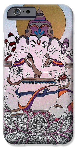 Religious Drawings iPhone Cases - 1 Ganesh iPhone Case by Kruti Shah