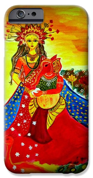 Parvati Paintings iPhone Cases - Ganesh Parvati iPhone Case by Rashi  Chaturvedi