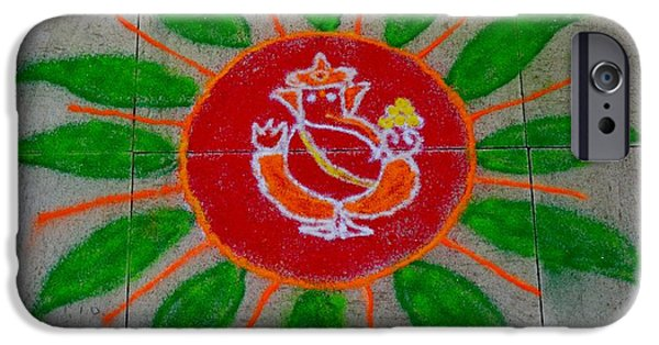 Petals Pastels iPhone Cases - Ganesh Rangoli iPhone Case by Sonali Gangane
