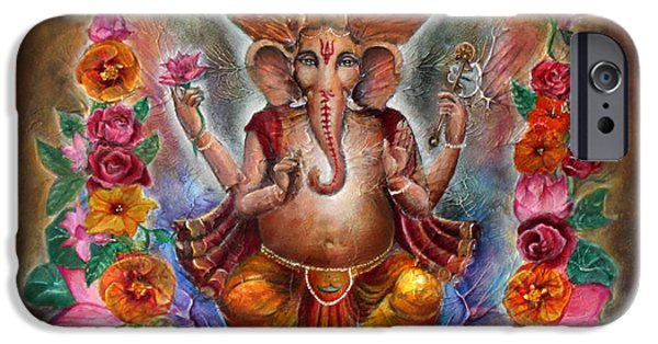 Parvati Paintings iPhone Cases - Ganesh iPhone Case by Vera Atlantia