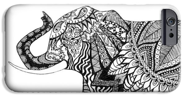 Best Sellers -  - Pen And Ink iPhone Cases - Ganesha iPhone Case by Alexandra Nicole Newton