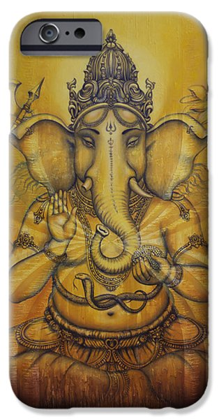 Hinduism iPhone Cases - Ganesha darshan iPhone Case by Vrindavan Das