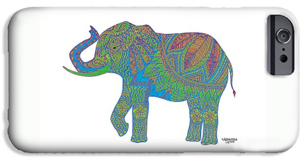 Elephant Drawings iPhone Cases - Ganesha in Green iPhone Case by Alexandra Nicole Newton