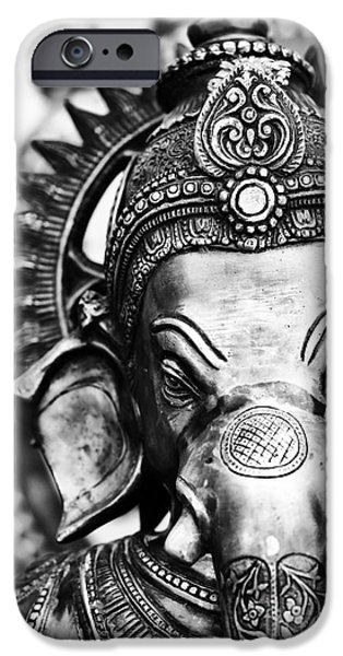 Hinduism iPhone Cases - Ganesha Monochrome iPhone Case by Tim Gainey