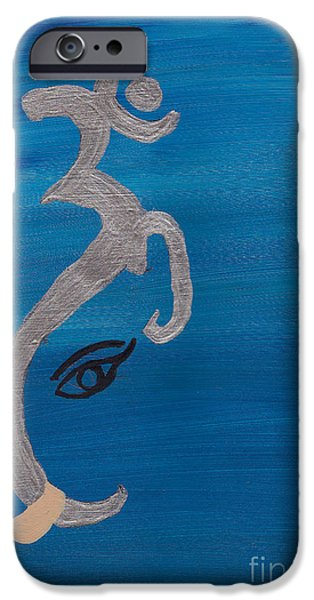 Parvati Paintings iPhone Cases - Ganesha-OM  iPhone Case by Melissa Vijay Bharwani