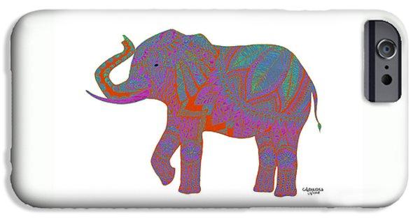 Elephant iPhone Cases - Ganesha - Orange iPhone Case by Alexandra Nicole Newton