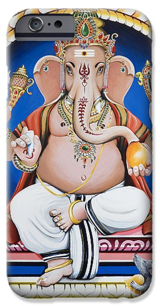 Tim Paintings iPhone Cases - Ganesha Painting iPhone Case by Tim Gainey