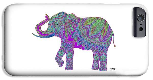 Elephant Drawings iPhone Cases - Ganesha - Purple iPhone Case by Alexandra Nicole Newton