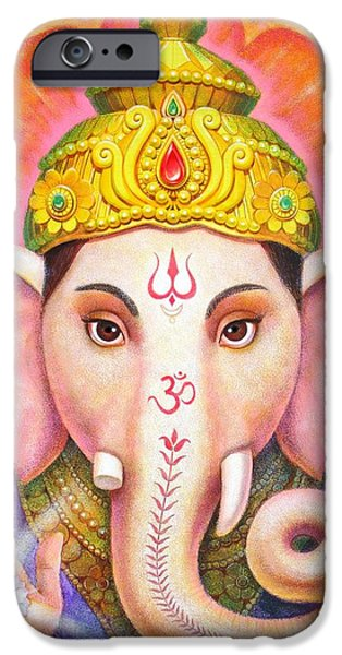 Crown Paintings iPhone Cases - Ganeshas Blessing iPhone Case by Sue Halstenberg