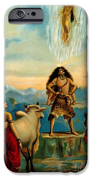 Hindu Goddess iPhone Cases - Ganga And The River Ganges Falling iPhone Case by Wellcome Images